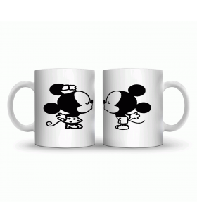 mickey mouse kissing couple art printed mug