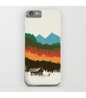 colorful mountain and fox art printed mobile cover