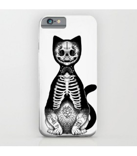 skull cat art printed mobile cover