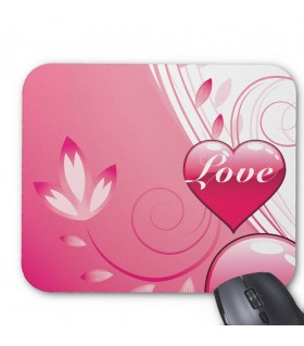 Swirly Pink Love Heart Printed Mouse pads