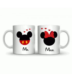 mr and mrs couple art printed mug