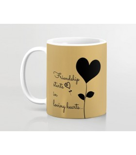 friendship starts in loving heart printed mug