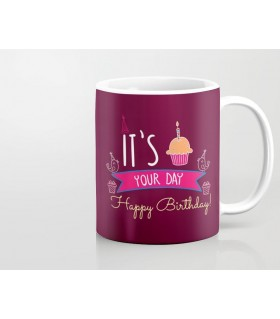 Happy Birthday Cup Cake art printed mug