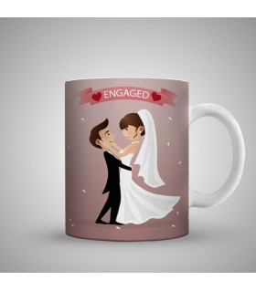 engagement couple vector art printed mug