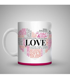 engagement heart typography printed mug