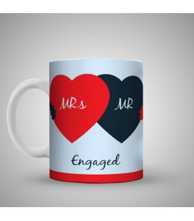 mr and mrs are know enganged printed mug