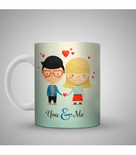 young couple engagement art printed mug