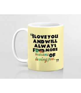i love you and find loving reasons printed mug