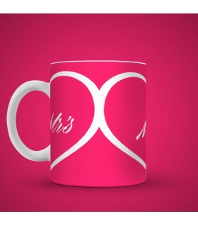 Mrs heart printed mug