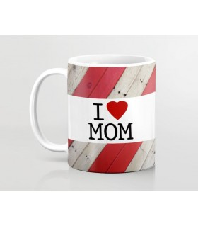 i love mom red lining printed mug