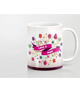love u mom printed mug