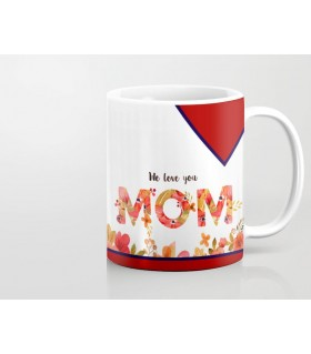 we love you mom printed mug