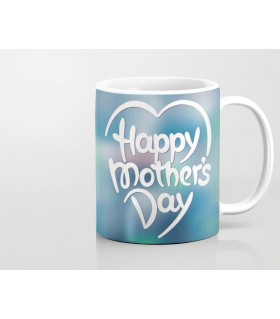 Glowing heart art happy mothers day printed mug