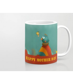 bird cartoon happy mother day  art printed mug