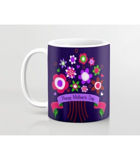 happy mothers day colorful flowers art printed mug