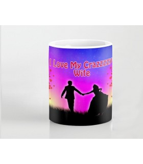 i love my crazy wife printed mug