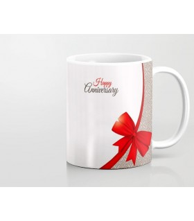 Happy Anniversary ribbon Printed Mug