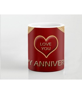 Happy Anniversary Gold Ribbon art Printed Mug