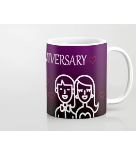 Happy Anniversary couple outline art Printed Mug