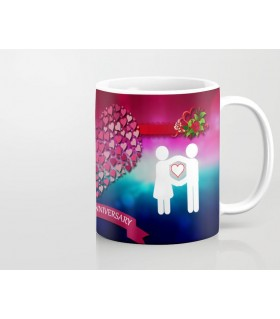Happy Anniversary couple saving heart art Printed Mug