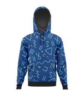 blue triangle all over printed hoodie