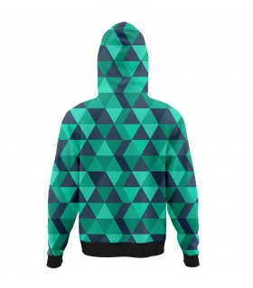 green polygon all over printed hoodie