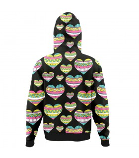 hearts all over printed hoodie
