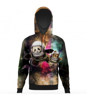 panda and the cat all over printed hoodie