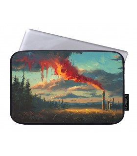red smoke art printed laptop sleeves