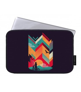 cycle girl on the mountain art printed laptop sleeves