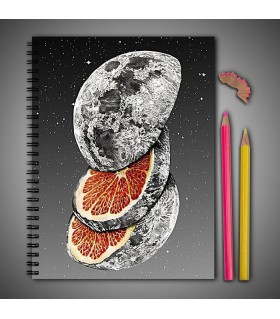 orange moon art printed notebook