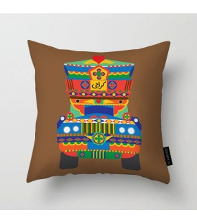 karachi truck art printed pillow