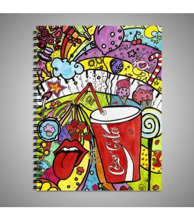 coca cola fun art printed notebook
