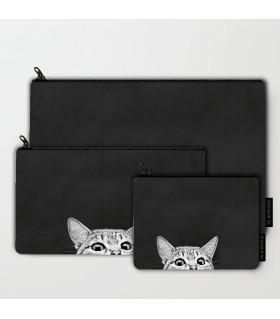 cat art printed pouch bag