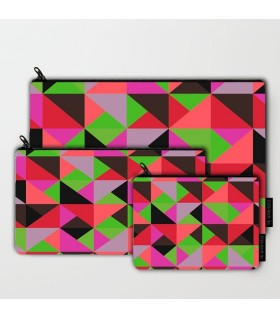color triangle art printed pouch bag