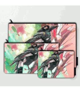 colorful crow bird art prinetd pouch bag