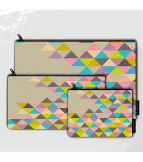 multi triangle printed MAKEUP POUCH