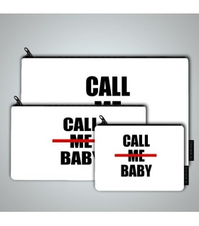 call me baby art printed pouch bag