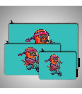 Octosushi art printed pouch bag