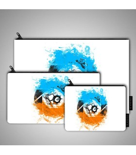 The Blue and Orange Gels art printed pouch bag