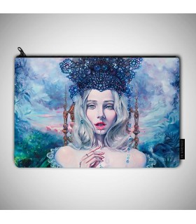 Self Crowned art printed pouch bag