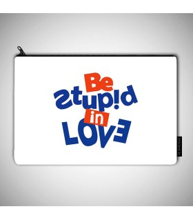 be stupid art printed pouch bag
