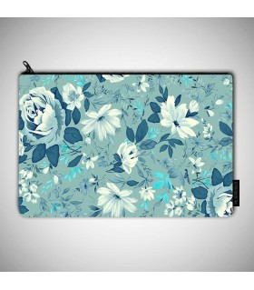 blue flower art printed pouch bag