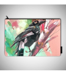colorful crow bird art prinetd MAKEUP POUCH