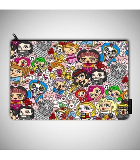 cute doddle art printed pouch bag