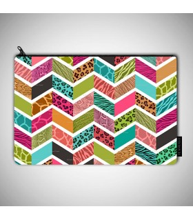 Rainbow Cheetah And Zebra art printed MAKEUP POUCH