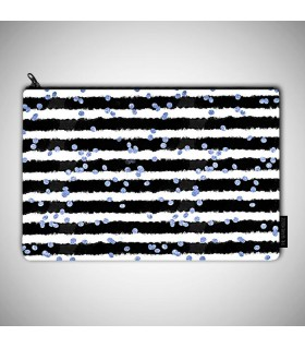 black and blue watercolor printed pouch bag