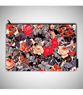 red flower pattern art printed pouch bag