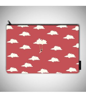 sky with red art printed MAKEUP POUCH