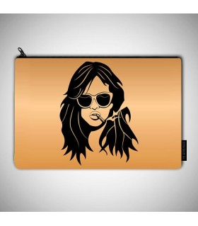 smoking girl vector printed pouch bag